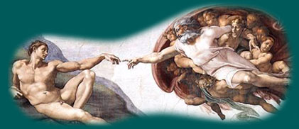 Section of the ceiling painting in the Sistine Chapel by Micheal Angelo.
