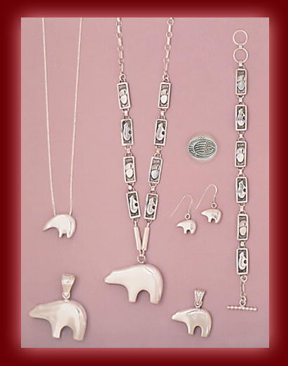 Sterling Silver and Gold Bear jewelry in Pendants, Rings, Necklaces, Earrings, and Bracelets.