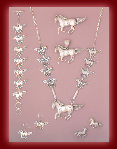 Sterling Silver Horses in Pendants, Necklaces, Earrings, Bracelets, and Pins.