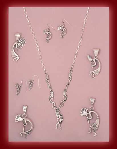 Sterling Silver Kokopelli figures in Pendants, Necklaces, and Earrings.