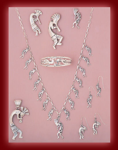 Sterling Silver Kokopelli figures in Pendants, Necklaces, Bracelets, and Earrings.