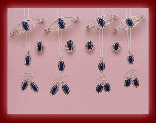 The beautiful blue azure stone of Lapis Lazuli is used to decorate the silver settings of pendants, necklaces, earrings, rings, bracelets, bolas, belt buckles, and watch bands.