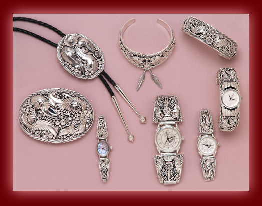 Sterling Silver is fashioned into Navajo pendants, necklaces, earrings, rings, bolas, bracelets, and watch tips.