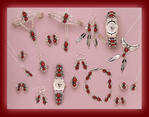 Necklace, pendants, earrings, rings, bracelets, and watch bands made from Red Coral and sterling silver.