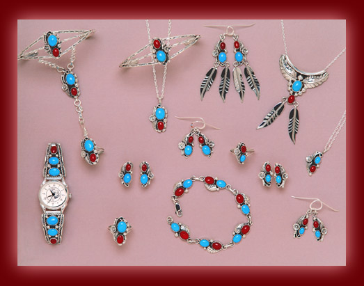 Turquoise and Red Coral gemstones mounted on silver pendants, earrings, necklaces, bolas, bracelets, and watch tips.