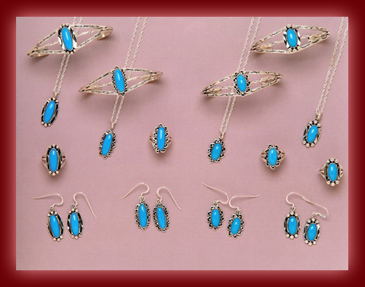 The Navajo indian gemstone of choice is Turquoise and is used in the making of pendants, necklaces, earrings, bolas, bracelets, belt buckles, and watch bands by silversmiths.