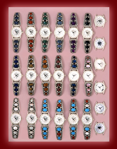 Navajo Indian designed watches and bands for women and men with gemstones of turquoise,red Coral, Mother of Pearl,and Paua Shell.